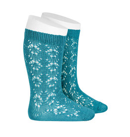 CONDOR Stone Blue Geometric Openwork Socks