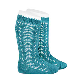 CONDOR Stone Blue Openwork Knee Socks