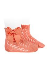 CONDOR Peony Openwork Short Socks with Bow