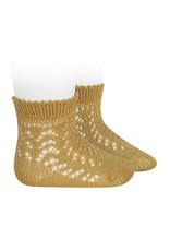 CONDOR Mustard Short Openwork Socks