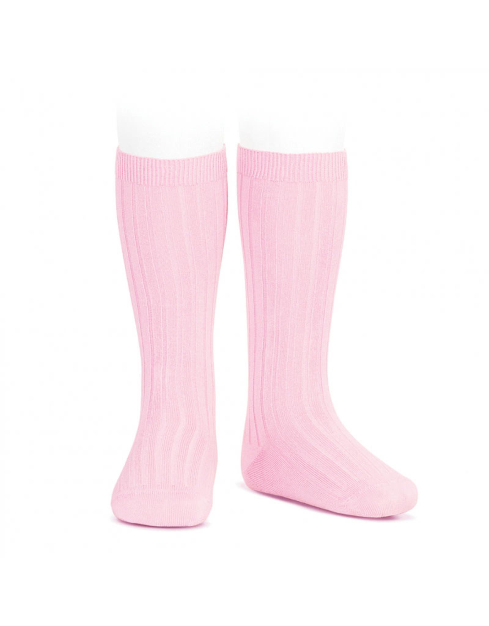 CONDOR Pink Ribbed Knee Socks