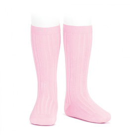CONDOR Pink Ribbed Knee Socks