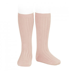CONDOR Old Rose Ribbed Knee Socks