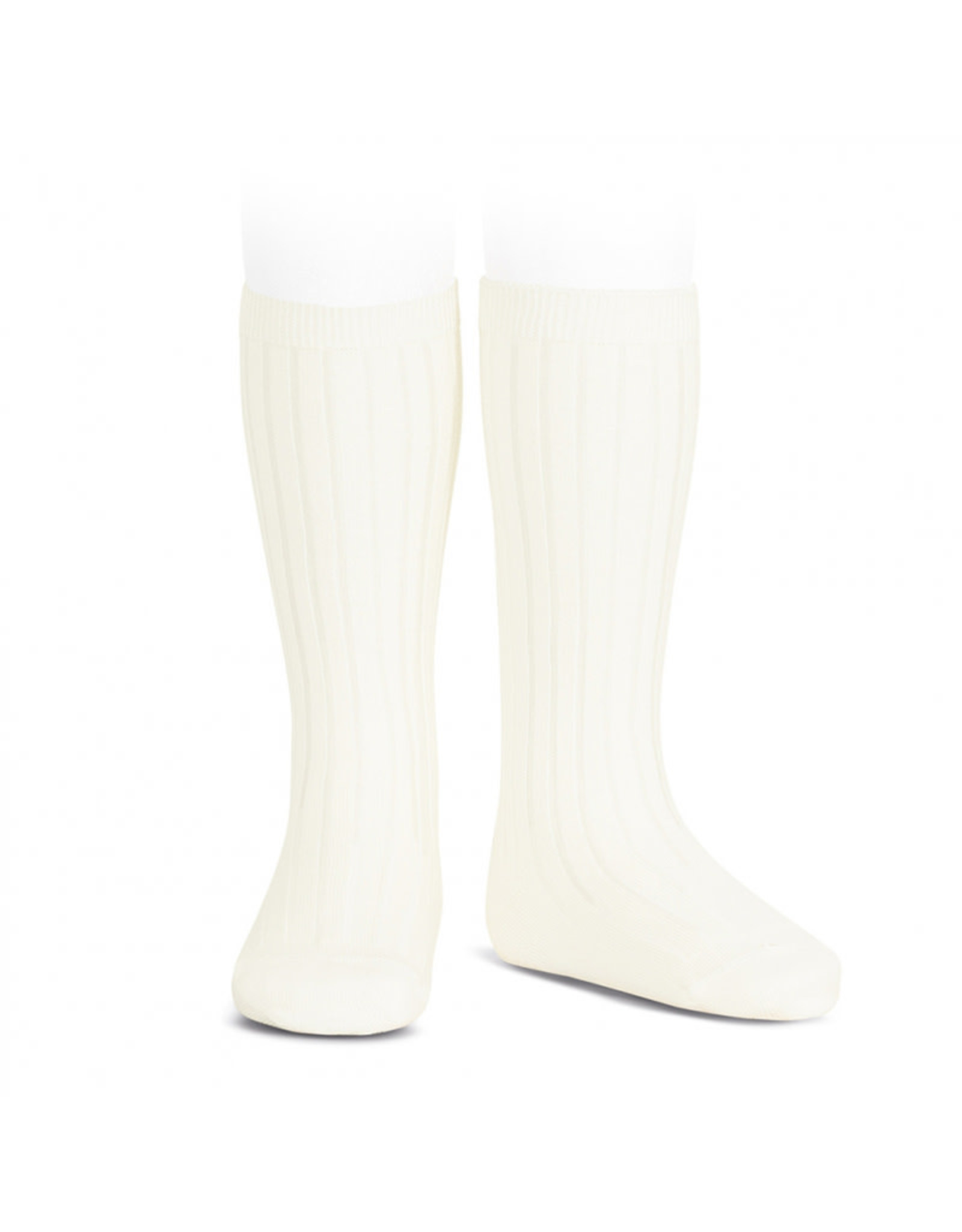 CONDOR Beige Ribbed Knee Socks