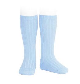 CONDOR Baby Blue Ribbed Knee Socks