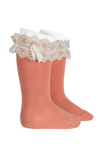 CONDOR Peony Lace Trim Socks with Bow