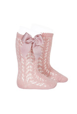 CONDOR Pale Pink Openwork Knee Socks with Bow