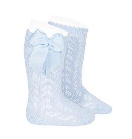 CONDOR Baby Blue Openwork Knee Socks with Bow