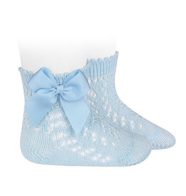 CONDOR Baby Blue Openwork Short Socks with Bow
