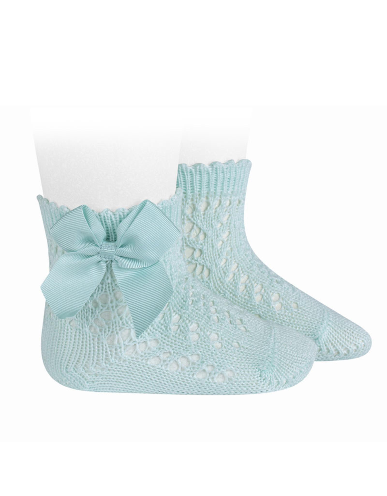 CONDOR Aquamarine Openwork Short Socks with Bow