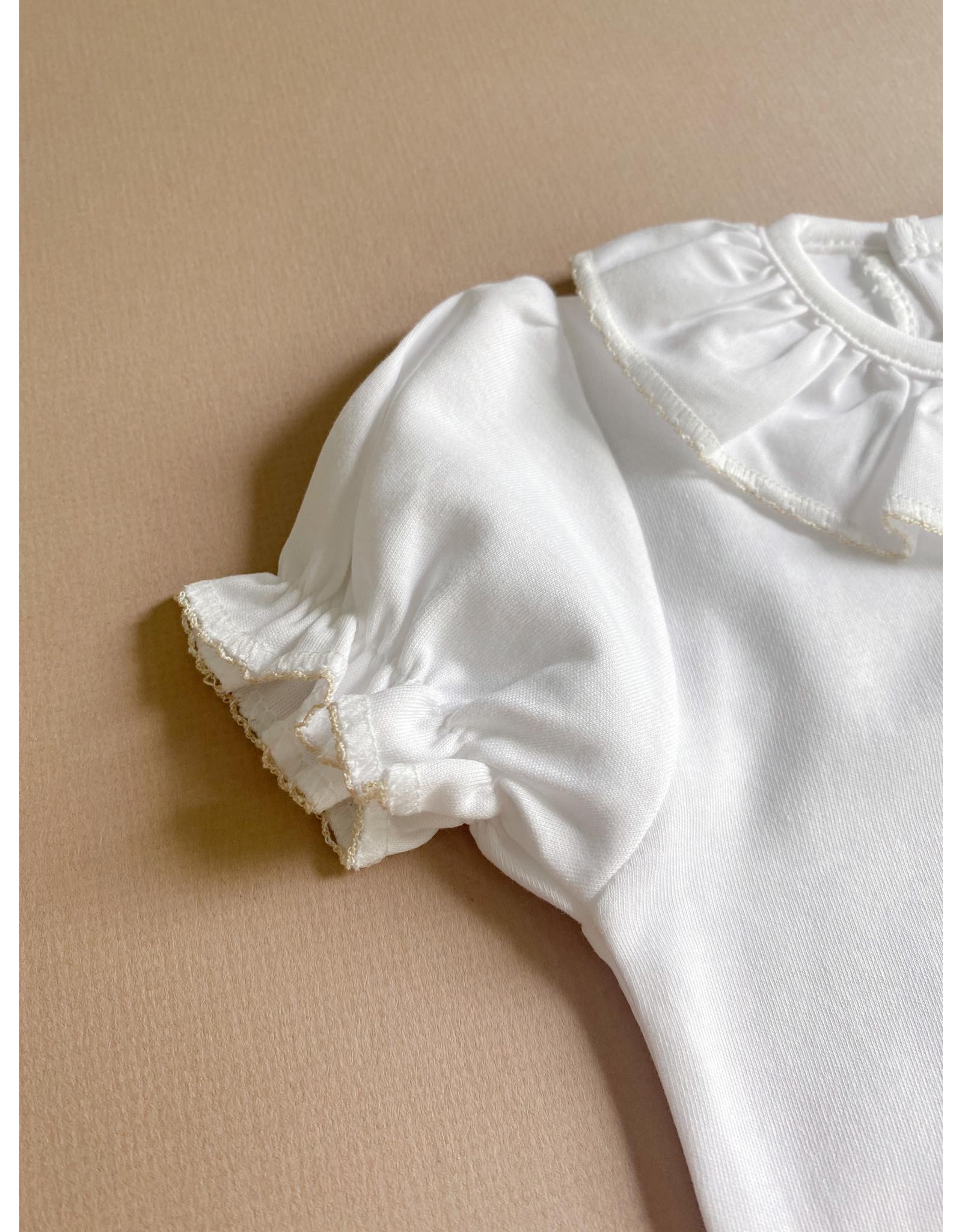 MINHON White with Beige Trim Ruffles Bodyvest