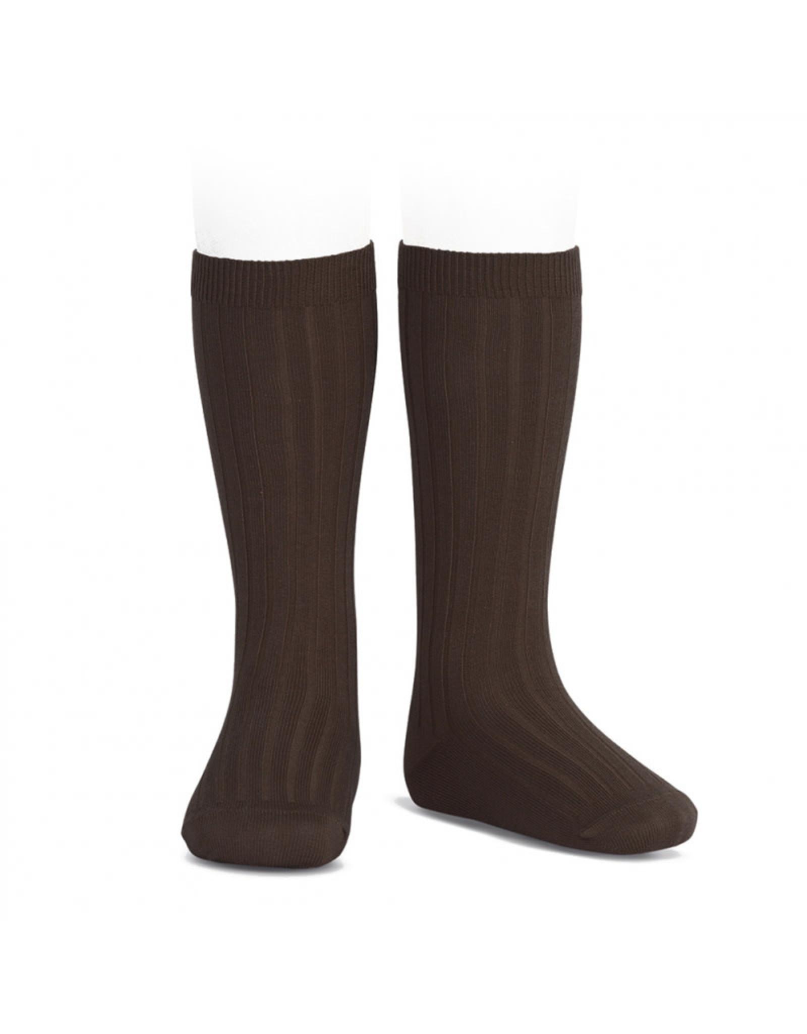 CONDOR Brown Ribbed Knee Socks