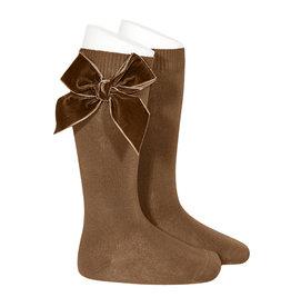CONDOR Toffee Velvet Bow Socks