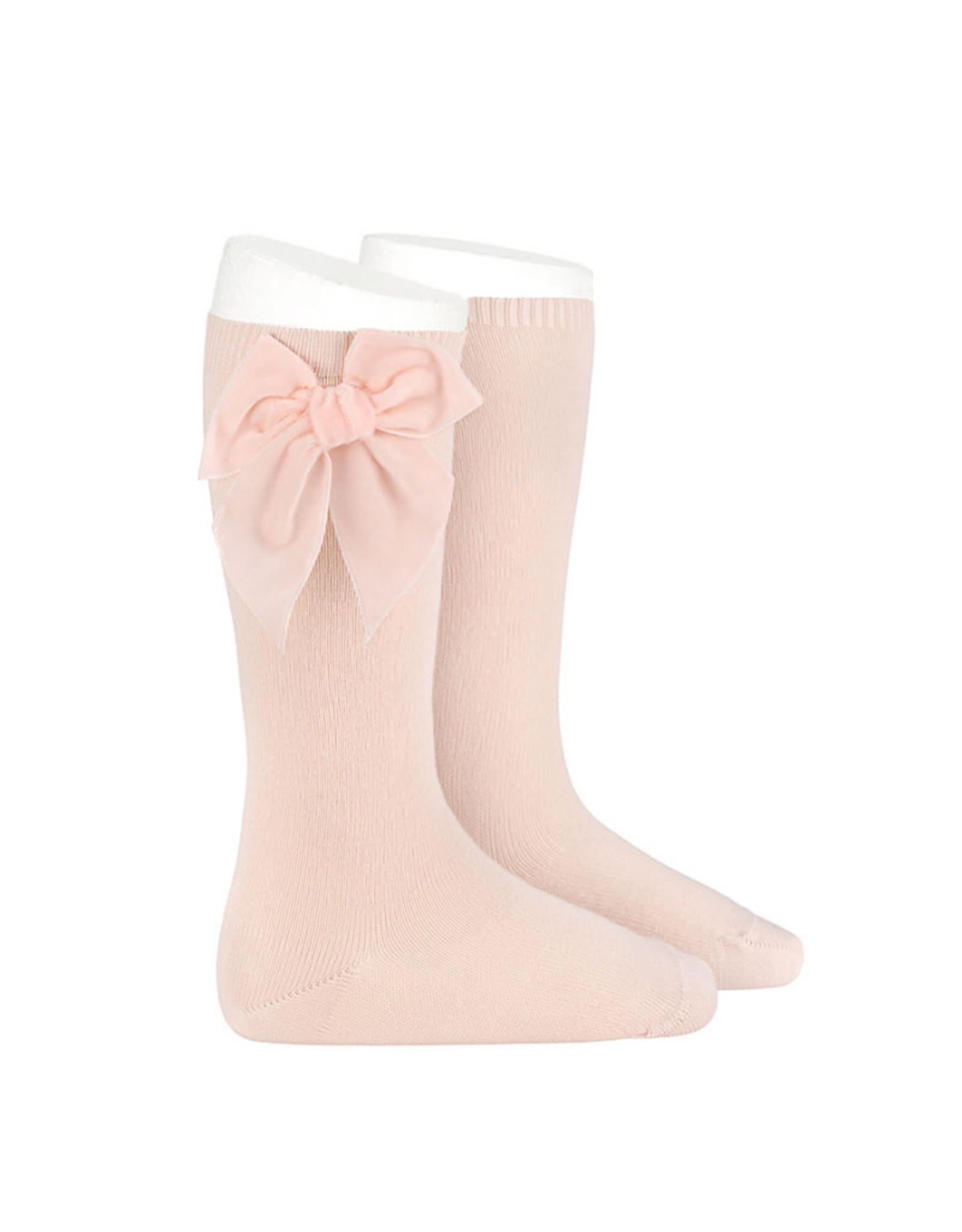 CONDOR Nude Velvet Bow Socks
