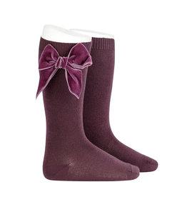 CONDOR Bordeaux Velvet Bow Socks