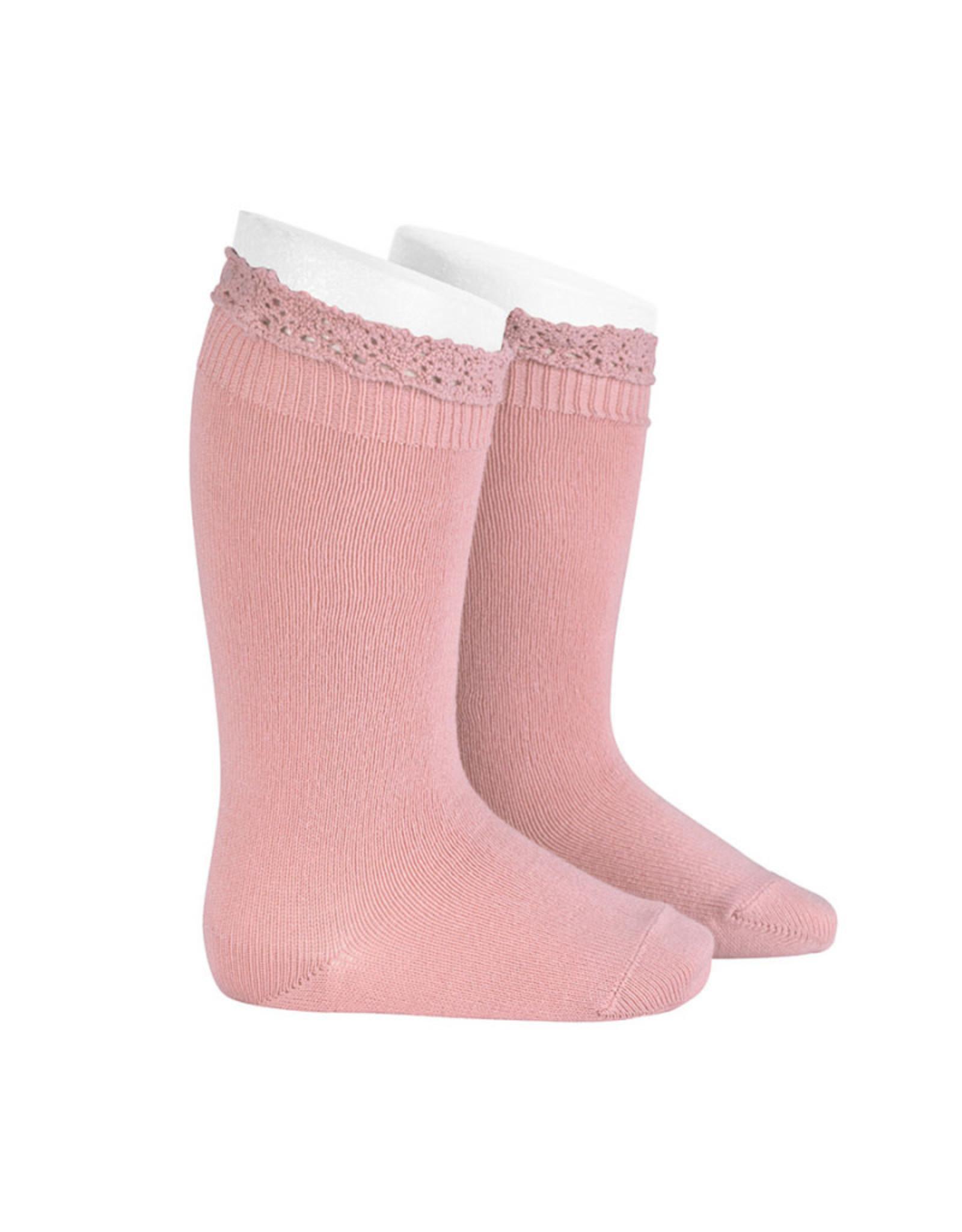 CONDOR Pale Pink Lace Edging Knee Socks