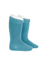 CONDOR Stone Blue Lace Edging Knee Socks
