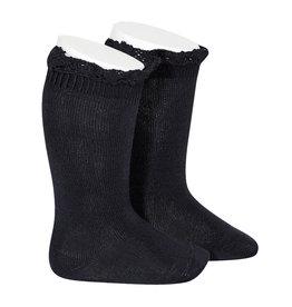 CONDOR Navy Blue Lace Edging Knee Socks