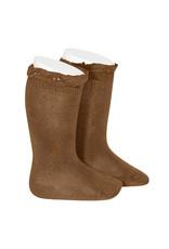 CONDOR Toffee Lace Edging Knee Socks