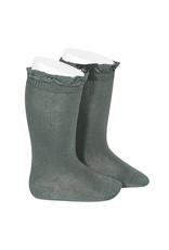 CONDOR Lichen Green Lace Edging Knee Socks