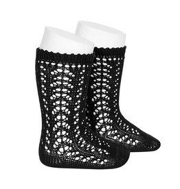 CONDOR Black Openwork Knee Socks