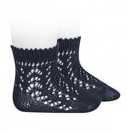CONDOR Navy Blue Short Openwork Socks
