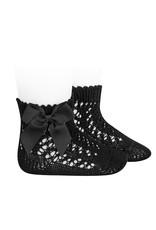 CONDOR Black Short Openwork Socks with Bow
