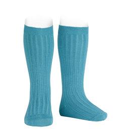 CONDOR Stone Blue Ribbed Knee Socks