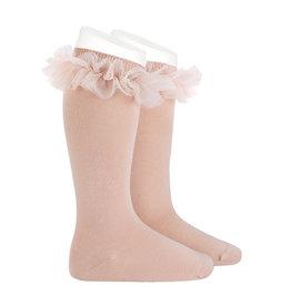 CONDOR Old Rose Tulle Knee Socks