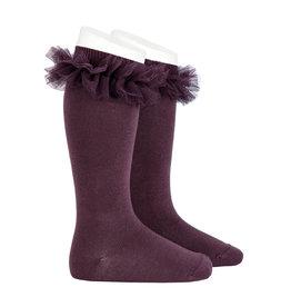 CONDOR Bordeaux Tulle Knee Socks