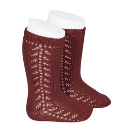 CONDOR Burgundy Warm Side Openwork Socks