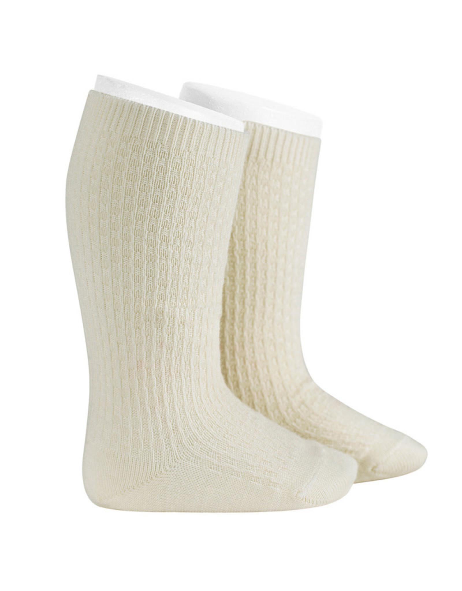 CONDOR Beige Wool Patterned Knee Socks