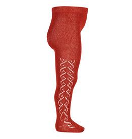 CONDOR Red Wool Side Openwork Tights