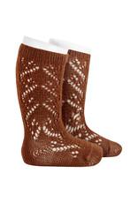 CONDOR Chocolate Wool Side Openwork Socks