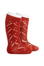 CONDOR Red Wool Side Openwork Socks
