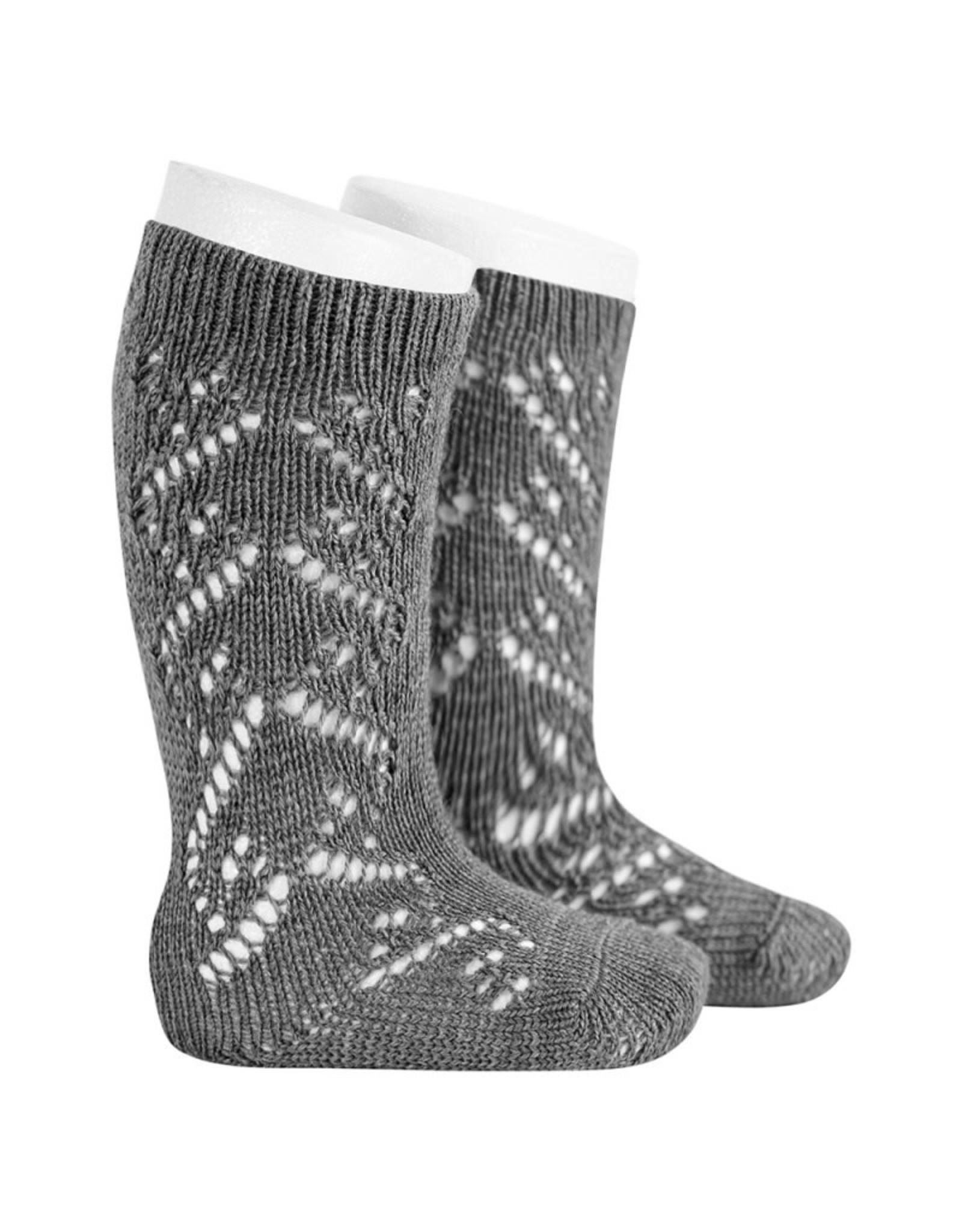 CONDOR Grey Wool Side Openwork Socks
