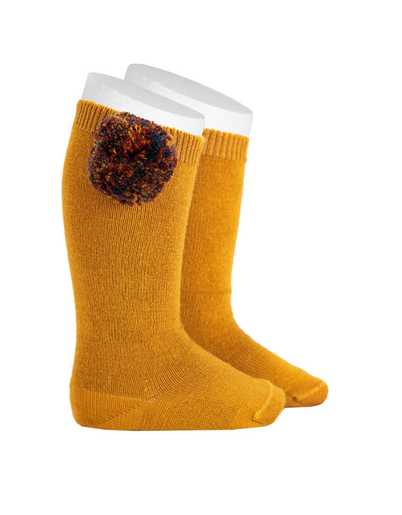 CONDOR Wool Pompom Knee Socks
