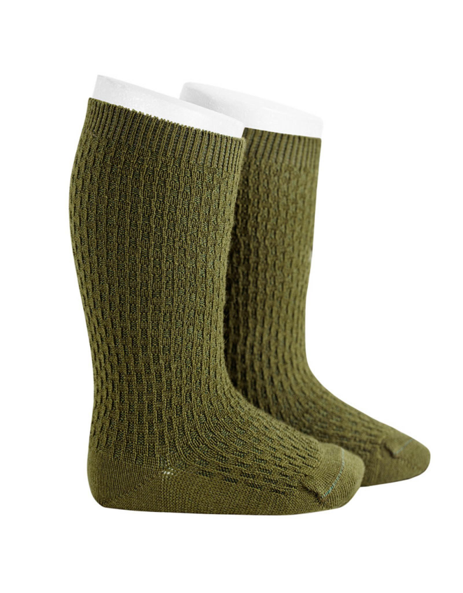 CONDOR Moss Wool Patterned Knee Socks