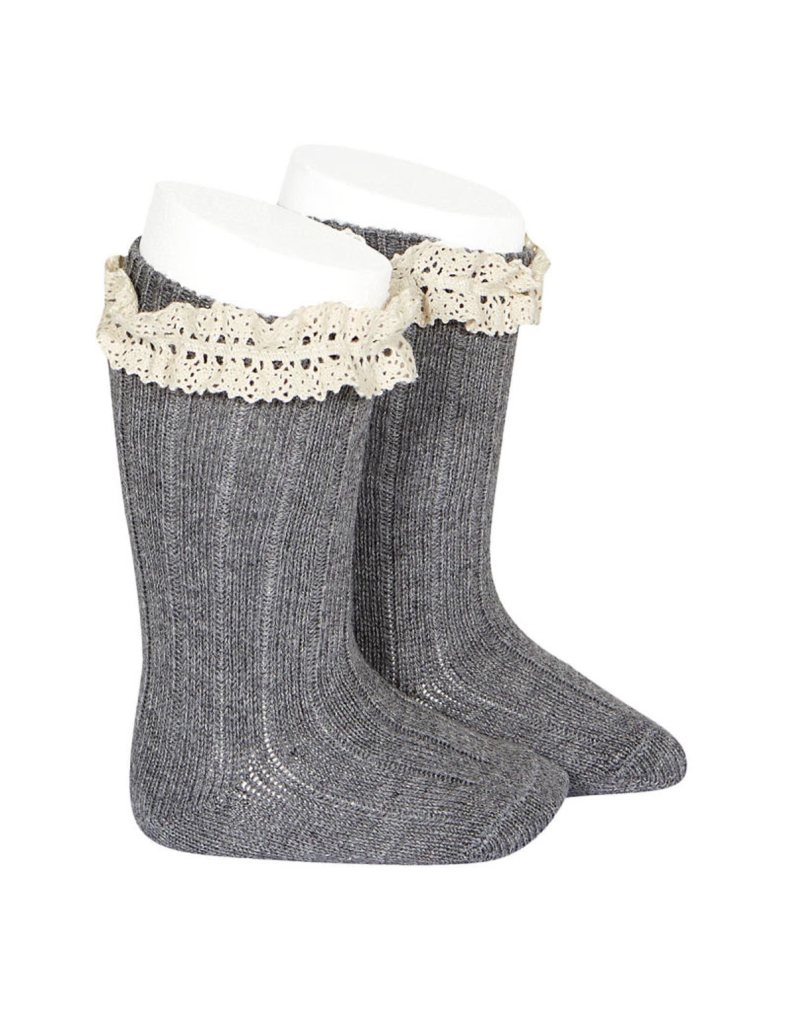 CONDOR Light Grey Vintage Lace Socks
