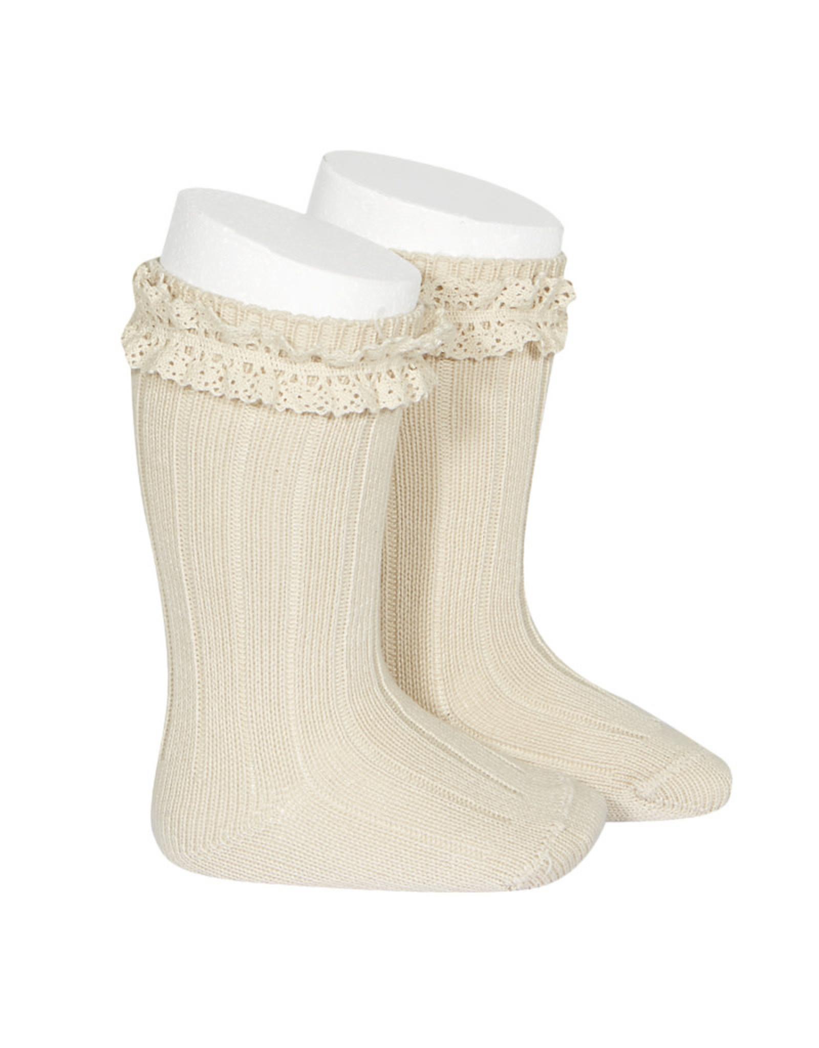 CONDOR Linen Vintage Lace Socks