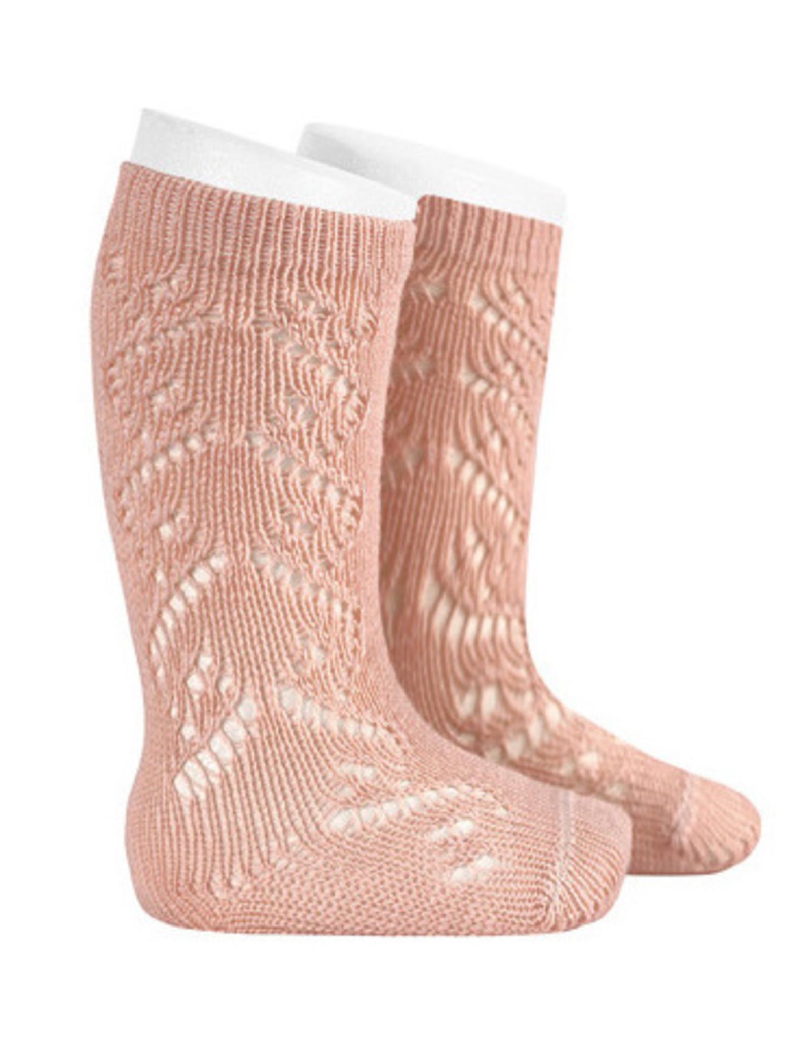 CONDOR Old Rose Wool Side Openwork Socks