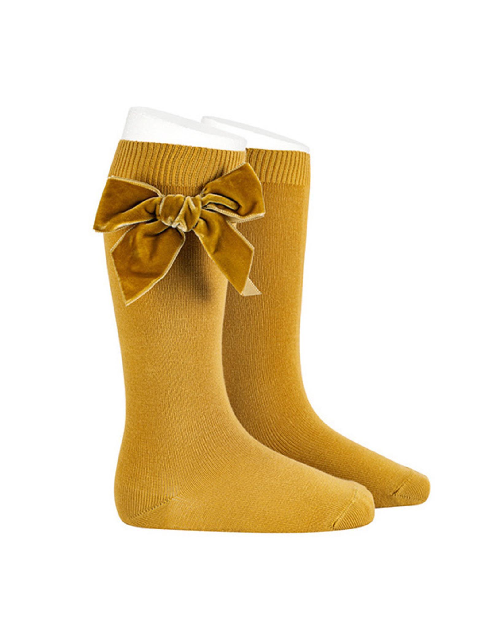 CONDOR Mustard Velvet Bow Socks