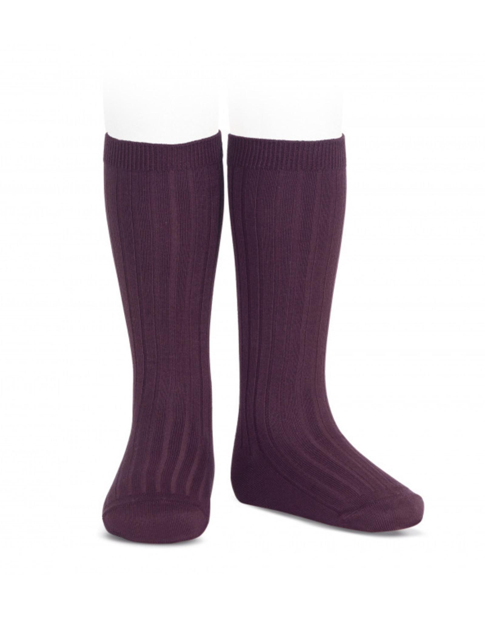 CONDOR Bordeaux Ribbed Knee Socks