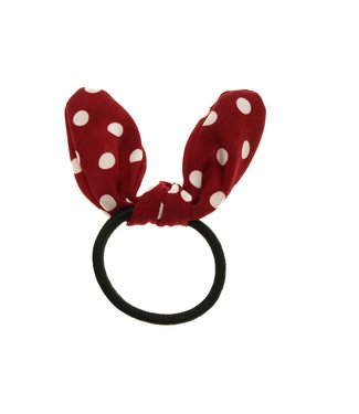 Hair elastic bow red/white dots