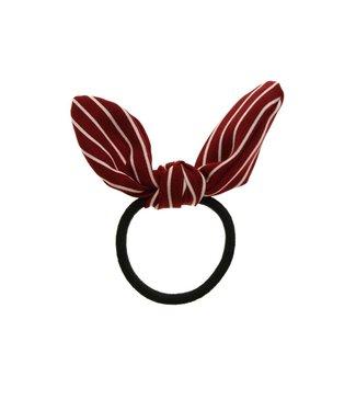 Hair elastic bow red/white stripes