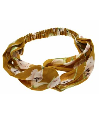 Hairband yellow ochre with flowers