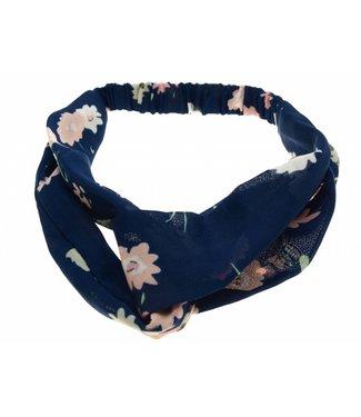 Haarband donkerblauw met roze bloemen