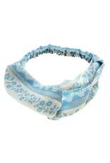 Haarband licht blauw met print