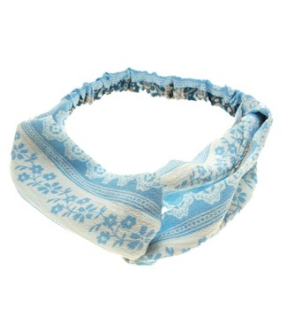 Hairband light blue with print