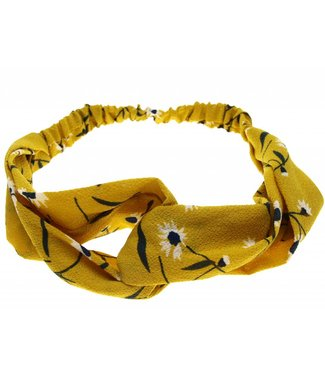 Hairband ochre yellow with floral print